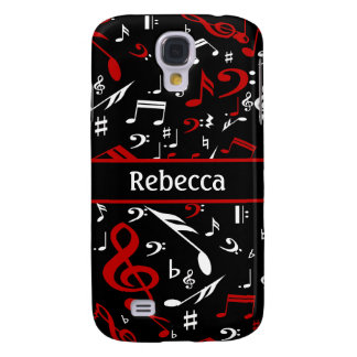Personalized Red White and Black Musical Notes Galaxy S4 Case
