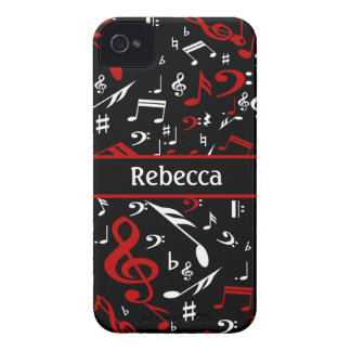 Personalized Red White and Black Musical Notes iPhone 4 Case-Mate Case