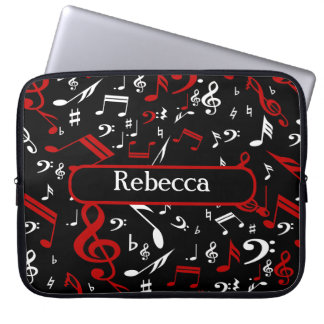 Personalized Red White and Black Musical Notes Laptop Sleeve