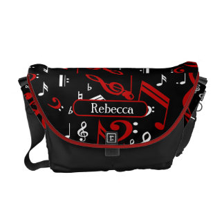 Personalized Red White and Black Musical Notes Courier Bag
