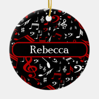 Personalized Red White and Black Musical Notes Round Ceramic Decoration