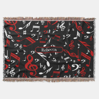 Personalized Red White and Black Musical Notes Throw Blanket