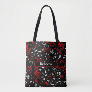 Personalized Red White and Black Musical Notes Tote Bag