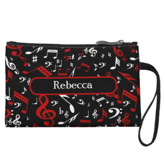 Personalized Red White and Black Musical Notes Wristlet Clutch