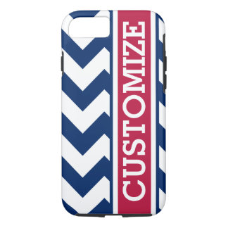 Personalized Red White and Blue Chevron iPhone 7 Case