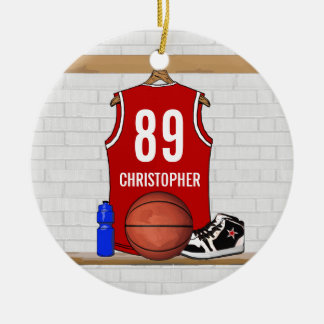 Personalized Red White Basketball Jersey Round Ceramic Decoration