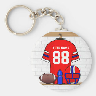 Personalized Red White Blue Football Jersey Basic Round Button Key Ring