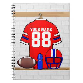 Personalized Red White Blue Football Jersey Notebook