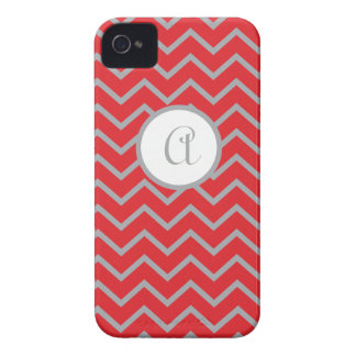 Personalized, Red with Gray Chevron iPhone 4/4s iPhone 4 Cover