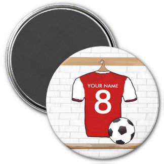 Personalized Red with White Football Soccer Jersey 7.5 Cm Round Magnet