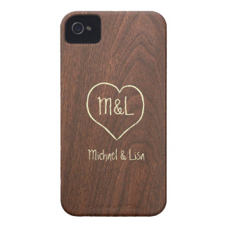 Personalized Red Wood Texture with Heart Case-Mate iPhone 4 Case