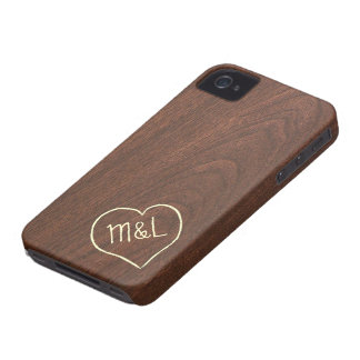 Personalized Red Wood Texture with heart iPhone 4 Case