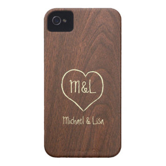Personalized Red Wood Texture with Heart iPhone 4 Case-Mate Cases