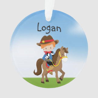 Personalized Redhead Cowboy On Horse Ornament