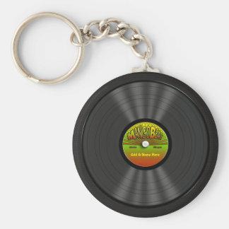 Personalized Reggae Vinyl Record Basic Round Button Key Ring