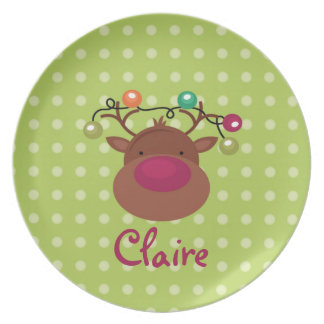 Personalized Reindeer Plate