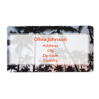 Personalized Relaxing Tropical Palm Trees Sunset Shipping Label