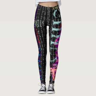 Personalized Repeating name 5 letters Music Notes Leggings