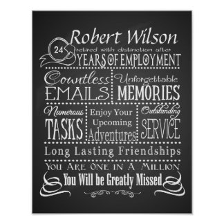 Personalized Retirement Poster Print