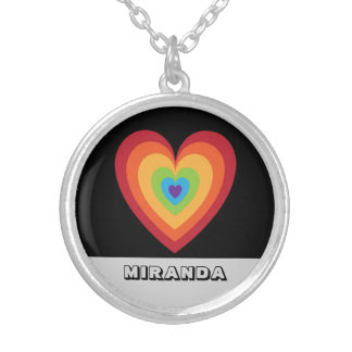 Personalized Retro 70s Funky | Rainbow Heart Name Silver Plated Necklace