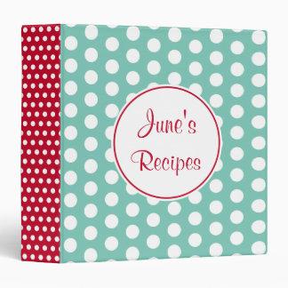 Personalized Retro Aqua Red Kitchen Recipe Binder