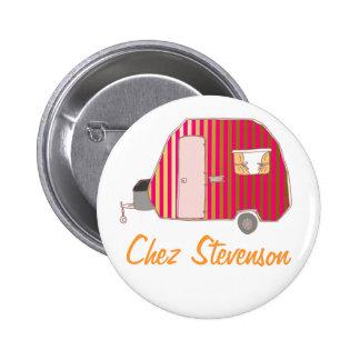 Personalized Retro Art Caravan Owner s Buttons