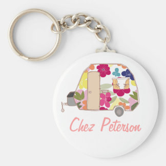 Personalized Retro Art Caravan Owner s Keychains