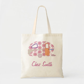 Personalized Retro Art Caravan Owners Canvas Bags