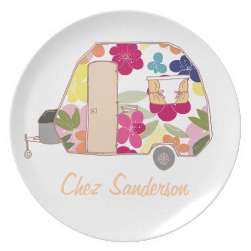 Personalized Retro Caravans Melamine Plate