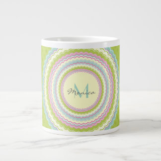 Personalized Retro Colorful Flower Power Monogram Giant Coffee Mug