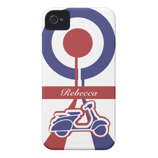 Personalized Retro look scooter mod target design iPhone 4 Cases