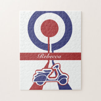 Personalized Retro look scooter mod target design Jigsaw Puzzle