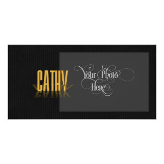 Personalized Retro Movie Poster Cathy Gold Photo Card Template