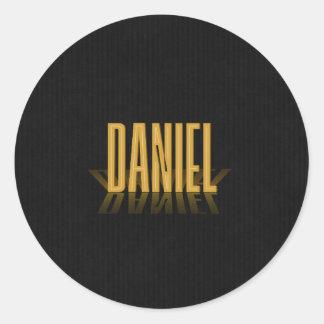 Personalized Retro Movie Poster Daniel Gold Classic Round Sticker