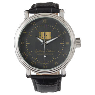 Personalized Retro Movie Poster Gregor Gold Wrist Watches