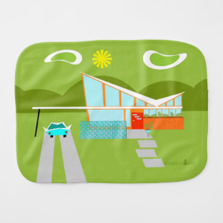 Personalized Retro Palm Springs House Burp Cloth