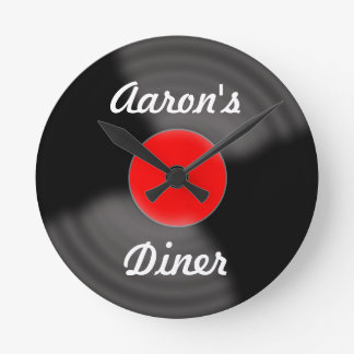 Personalized Retro Red Record Wall Clock Gift
