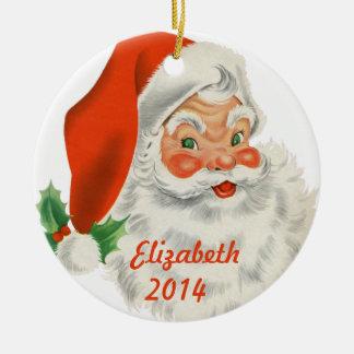 Personalized Retro Santa Claus Christmas Ornament