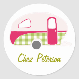 Personalized Retro Vintage Caravan Design Stickers