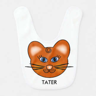 Personalized Reversible Smiling Cartoon Kitty Cat Bib