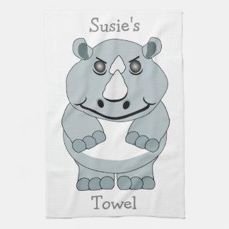 Personalized Rhino Design Tea Towel
