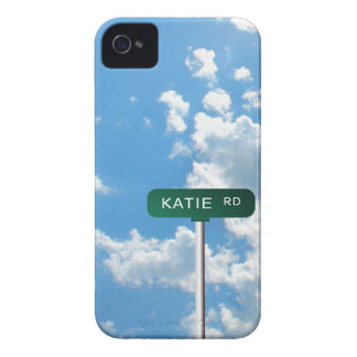 Personalized Road Name Street Sign on Blue Sky iPhone 4 Case