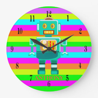 Personalized robot colorful stripes large clock