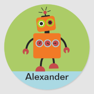 Personalized Robot Name Stickers, Labels, Classic Round Sticker