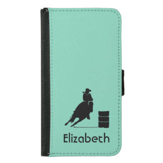 Personalized Rodeo Theme Cowgirl Barrel Racer Samsung Galaxy S5 Wallet Case