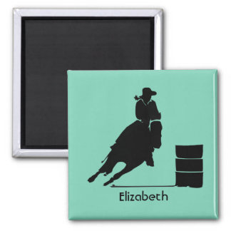 Personalized Rodeo Theme Cowgirl Barrel Racer Square Magnet