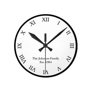 Personalized Roman Numeral Round Clock