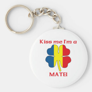 Personalized Romanian Kiss Me I'm Matei Basic Round Button Key Ring