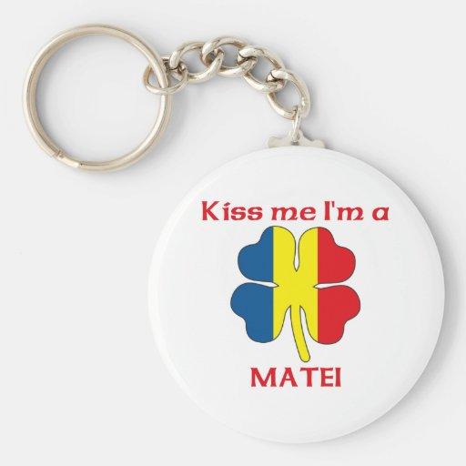 Personalized Romanian Kiss Me I'm Matei Keychains