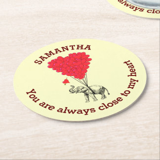 Personalized romantic elephant and red heart round paper coaster